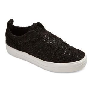Women's dv Black Canvas Sequins Slip On Sneakers 6